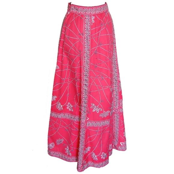 Emilio Pucci Dresses & Skirts - Emilio Pucci Maxi Skirt Cotton Twill Pink White 14